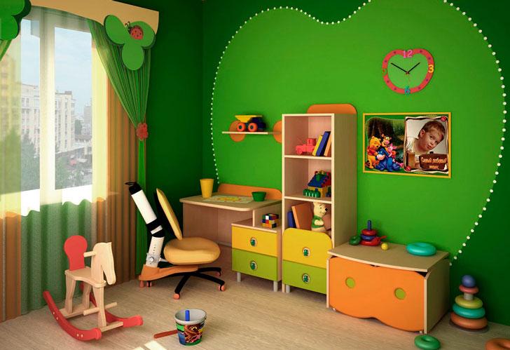 зеленый-интерьер-в-детской
