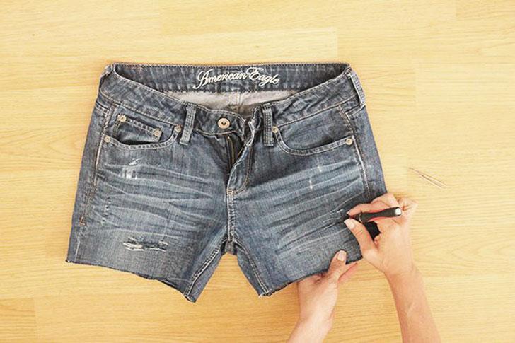 как превратить джинсы в шорты